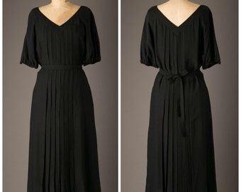 1950s Ivey Wade Black Pleated Dress
