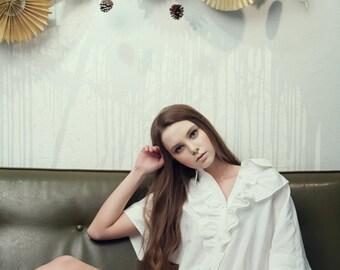 40% Season Off_Blue Moon Linen Loose Fitting Shirts Dress_White