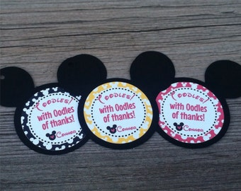Mickey Mouse Favor Tags, Thank You Tags, Gift Tags - Personalized  - baby shower, birthday - set of 12