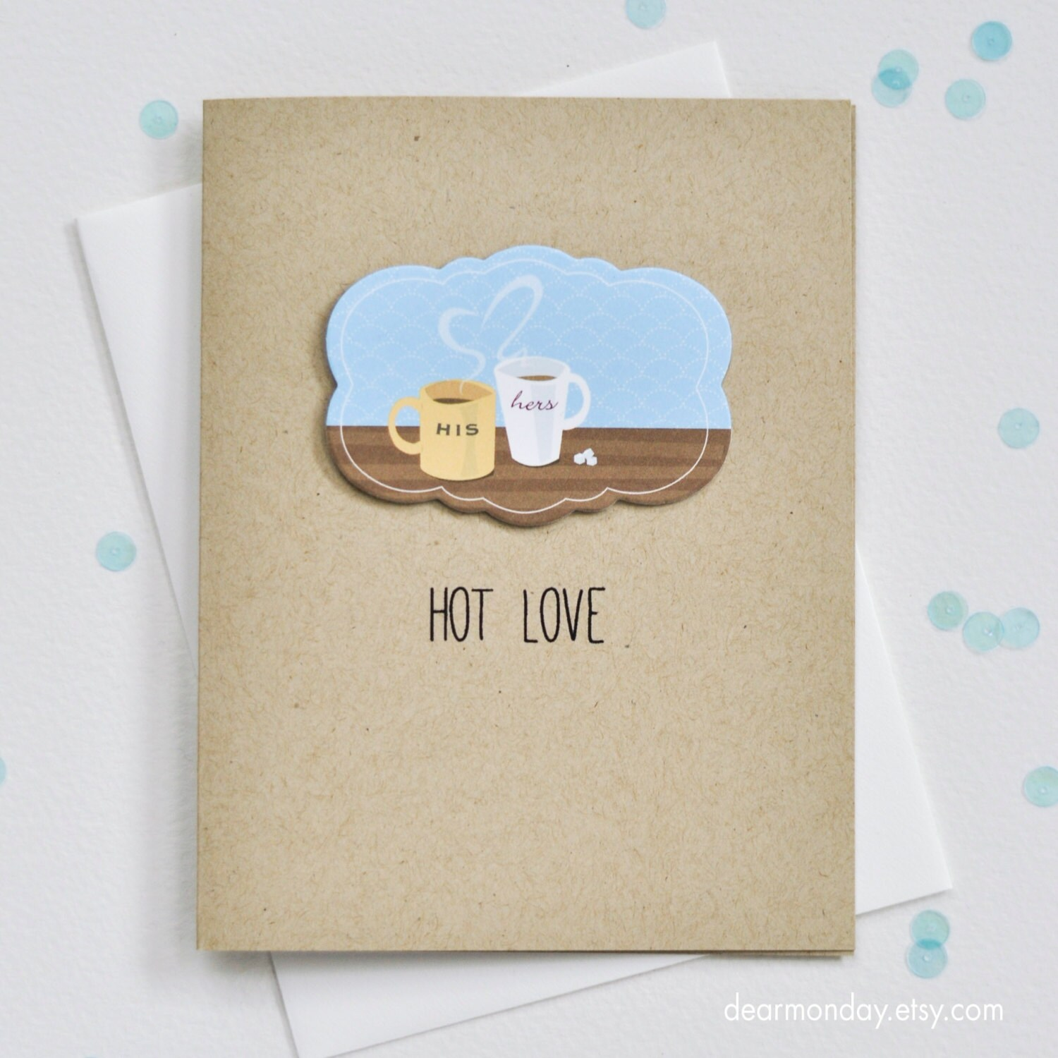 Coffee Lovers Card Cute Valentine Card Hot Love Greeting