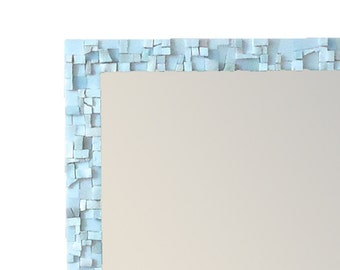 White 24x30 Inch Large Decorative Bathroom Mosaic Mirror