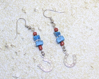 Turquoise And Coral Earrings With Dangling Horse Shoes, Western Earrings, Western Wear, Cowgirl Earrings