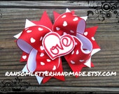 Large Red Valentine's Hair Bow Love Hearts Ribbon Bright Red and White Outfit for Baby Toddler Dress Valentine Gift Accessory
