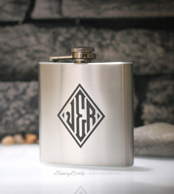 Diamond Monogram  - Personalized 6oz Engraved Liquor Hip Flask - Weddings - Birthdays - Special Occasion