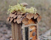 Miniature Primitive Fairy House made from Branches Moss Copper Rustic Tiny Furniture FREE SHIPPING