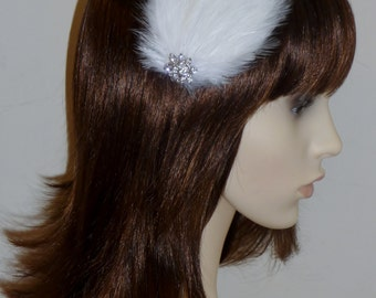WHITE Feather and Crystal Fascinator HAIR CLIP Handmade Bridal Wedding Bridesmaids Hair Accessory