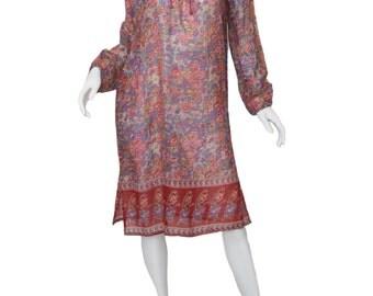 70s Indian Dress / Floral Indian Dress