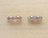 1 pcs of Natural Flourite Point Pendant With Gold Plated Pendant - Gemstone Pendants