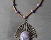Dyed Agate Copper Mixed Metal Pre-Columbian Made in Mexico Aztec Mayan Mask Pendant and Necklace