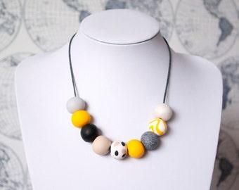 Mustard Yellow, Black and Coffee Handmade Bead Necklace, 'Mollie' 9 Bead Necklace, Statement Bead Necklace, Yellow and Black Necklace