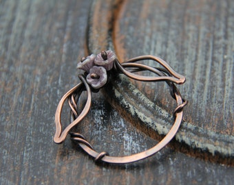 """Shawl pin, scarf pin, sweater pin, copper and czech glass beads """"Spring wreath"""" , wire wrap shawl pin, round shawl pin, flower pin, woodland"""