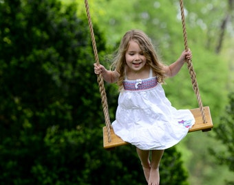 Handcrafted Wood Tree Swing: Single