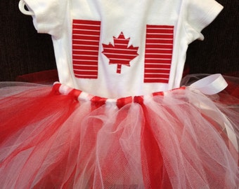 Canadian Flag Baby Onesie with Tutu