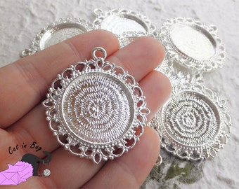 """2 Cabochon settings 44x40 mm  - color """"silver plated"""" - SP2"""