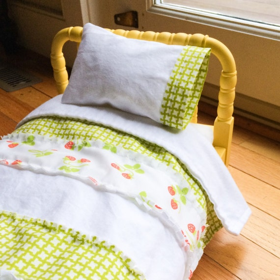 American Girl Doll Bedding -repurposed strawberry fabric, Heather Bailey - quilt, pillow and case -  ready to ship - perfect Christmas gift