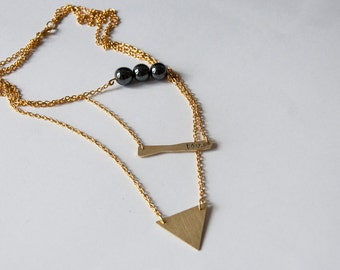 Stacking necklace with three different pendants,three chains in one,hematite,brass bar and triangle pendants,boho chic minimal style,elegant
