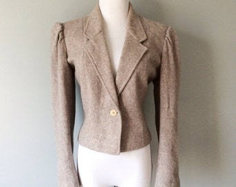 Vintage Twill Wool Blazer Puff Sleeve Grey Tailored English Equestrian Riding Jacket Fox Hunt Hunting Ladies Sport Coat Size 12 14 Large XL