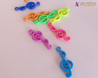 Music notes, treble clef, neon colours, green,pink, blue, neon music notes, beading supplies, jewelry supplies, pendant, music note pendant.