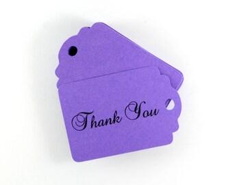 Purple Thank You Tags Set of 20, Plum Purple Gift Tags, Merchandise Tags, Favor Gift Tags, Fancy Thank You Tags, Royal Purple Gift Tags