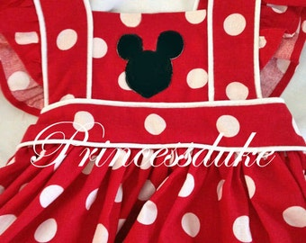 Minnie Mouse Red Apron Inspired Princessduke Dress with Ruffle Bloomers or Ruffle Diaper Cover
