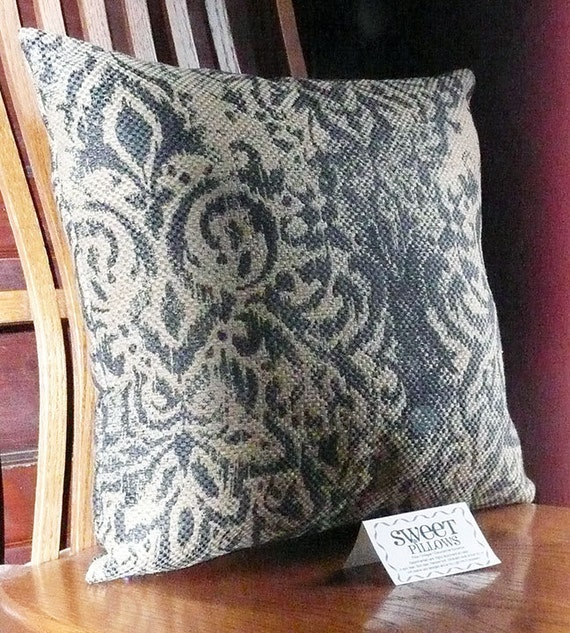 Decorative Pillow Navy Blue Beige Navy Beige by JollieSweets