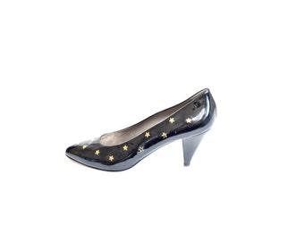 Vintage 80's Studded Stars Patent Leather Heels Pumps