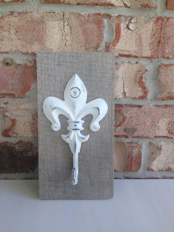 fleur de lis shabby chic wrought iron wall hook by oldsouthrevival. Black Bedroom Furniture Sets. Home Design Ideas