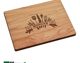 Personalized Engraved Cutting Board w/ Kitchen Utensils Design 11x16 ,9x12, Personalized Wedding Gift,Custom Cutting Board,Christmas Gift