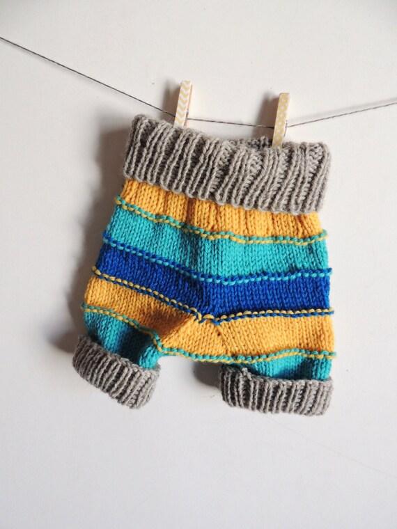 Striped Wool Shorties, Wool Diaper Soaker - organic knit baby, knit baby shorts, knit wool shorties, wool diaper cover, newborn wool cover