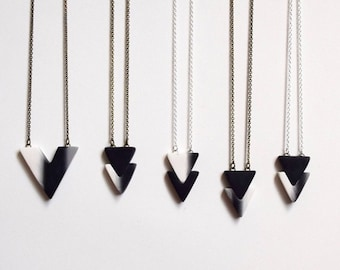 mini arrows necklace / black and white ombre necklace / geometric jewelry