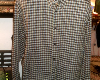 Mens Vintage Jhane Barnes Cotton Geo Checked Long Sleeve Button Down Shirt, size Large, Japan,Mens Cotton Shirts Lg., Mens Retro Shirt Lg