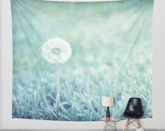 Dandelion Puff Wall Tapestry, Blue Flower Wall Hanging, Blue Floral Photo Tapestry, Tapestry Wall Hanging, Large Wall Decor, Garden Flag