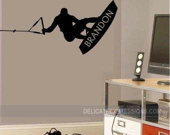 Wakeboarding Silhouette  Personalized Wakeboard Wall Decal  Wakeboarding Wall Sticker  Wakeboarder Wall Decal Bedroom Wall Decals Boy decals