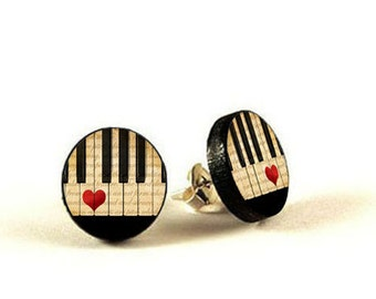 Piano -  handmade stud earrings - decoupage