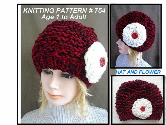 Knitting Pattern For Age : Items similar to RED HAT Knitting Pattern - Knit Flower Pattern - Age 1 to Ad...