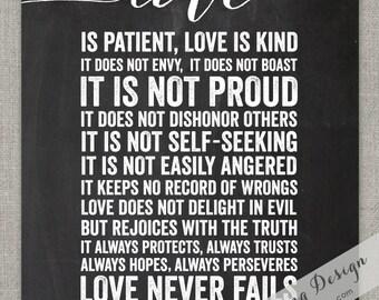 Love Is // 1 Corinthians 13 // Graphic Art Print // Wall Art // Blackboard // Scripture