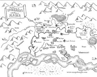 Fantasy maps of Northwestern cities: Fairbanks, Port Townsend, Jackson Hole, Ashland