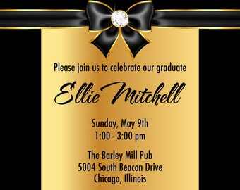 Gold Bling Graduation Party Invitations - High School or College Graduation Announcement
