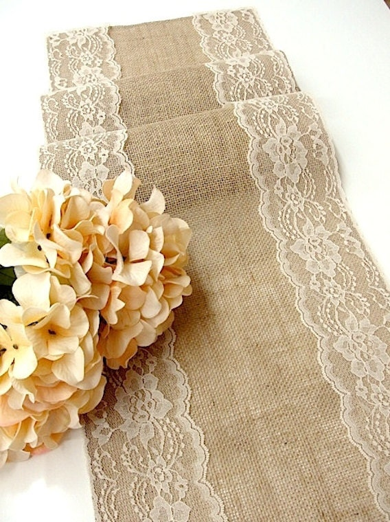 Burlap and lace wedding table runners