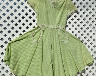 vintage lime green Gingham Dress