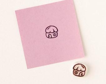 Fancy mushroom, house rubber stamp, woodland inspired, carved stamp, scrapbooking stamp, Stamp For Diy, Woodland Stamp