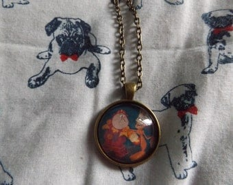 Lumiere and Cogsworth Brass Necklace