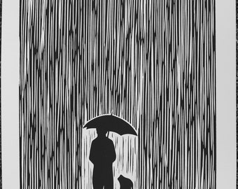 Standing In The Rain - Linocut Print, Signed and Numbered Edition of 100