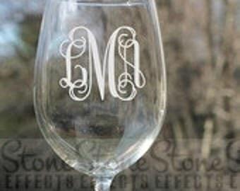 etched wine glasses, Monogram wine glass, wedding, Monogram, Etched Wine Glass, etched Wine Glass, Etched, Wine Glasses, Personalized,