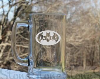 Batman, Etched beer Mug, personalized beer mug, Batman - 16oz, etched mugs, etched beer mugs, superhero, personalized beer mug, engraved mug