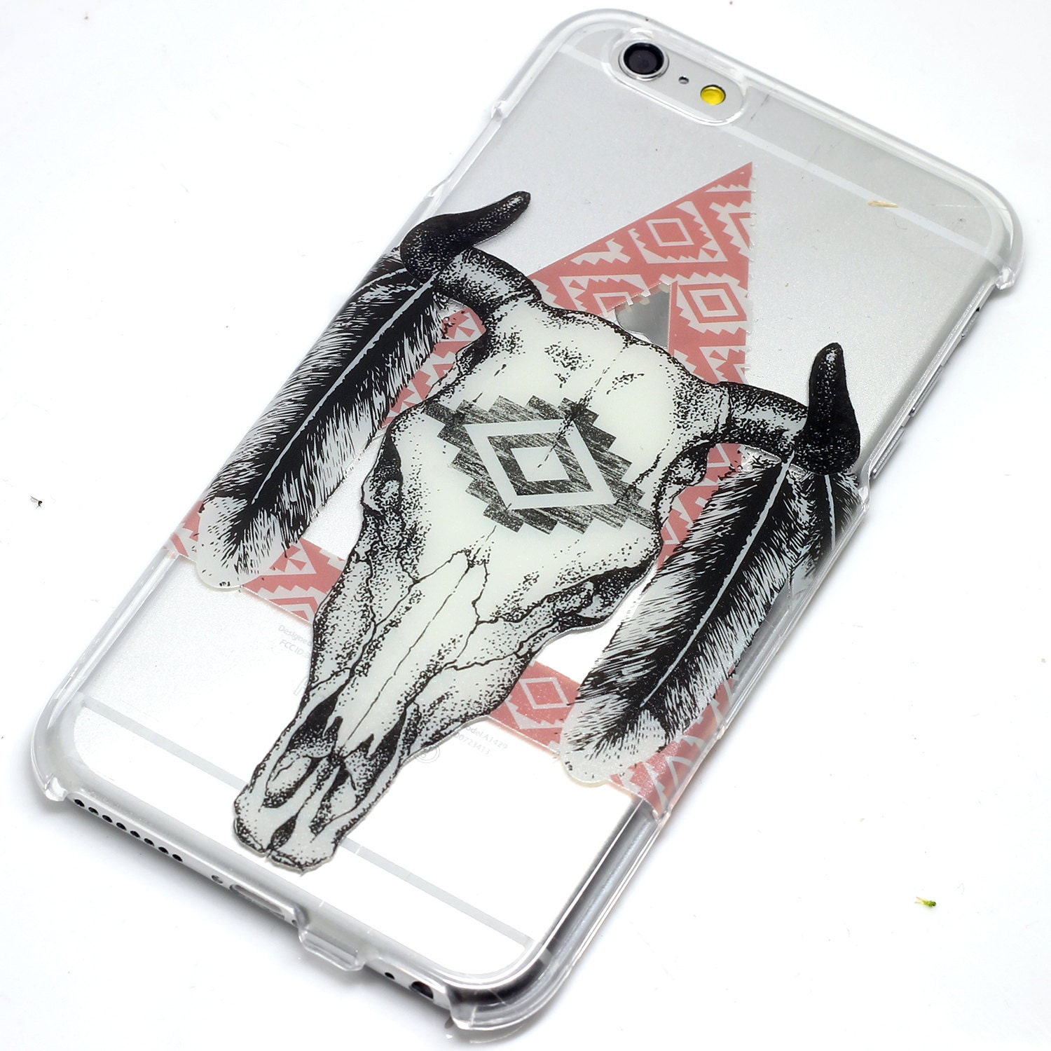 cow skull triangle feathers style phone case iphone 6 7 se 6
