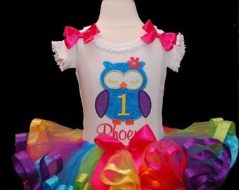 Number 1 Colorful Owl Tutu Outfit 2 pieces includes top and tutu only