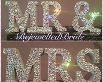 White Wooden Mr & Mrs Sign Customised with Crystal