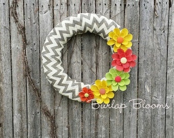 Summer Wreath, Year Round Wreath, Burlap Wreath, Chevron Wreath, Wreaths