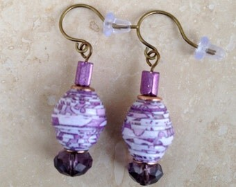 Purple Beauty -Paper Jewelry Earrings